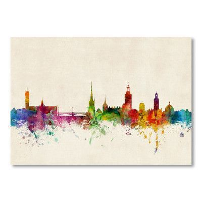 """Americanflat Stockholm Sweden Skyline Wall Mural Size: 12"""" H x 18"""" W"""