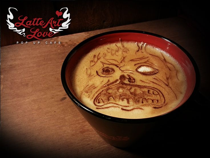 Our latte art of Ash Williams of Evil Dead prompted a request for the Necronomicon! So, here's a haunted latte for your Wednesday morning - it looks a little bit like a zombie bulldog though ... Co...