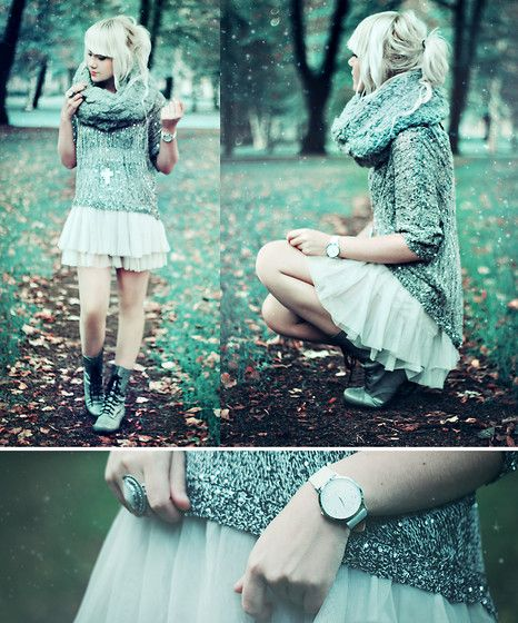 Sequin Sweater, Tutu Skirt, Scarf, Combat Boots | December snowflakes. (by Kerti P.) | LOOKBOOK.nu