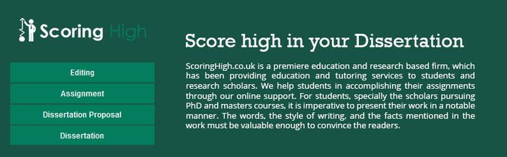 The aim of Scoring High is to assist PhD and Master's degree students with their research documentation and assignment development work. The company offers writing assistance for proposals, dissertations, emails, essays, presentations and letters. It also reviews academic reports and helps students in analyzing data using latest statistical software like SAS and SPSS.