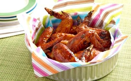 Orange Glazed Chicken Wings Recipe by Alton Brown These sticky wings are covered in a zingy orange coating.