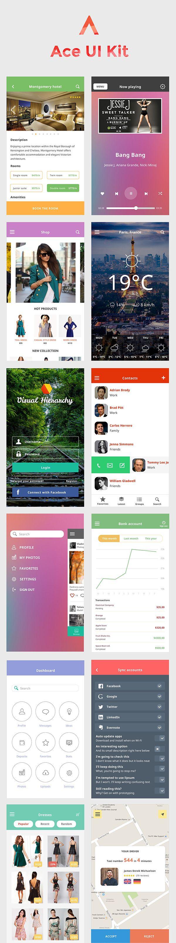 Ace iOS8 Mobile UI Kit Freebie | GraphicBurger