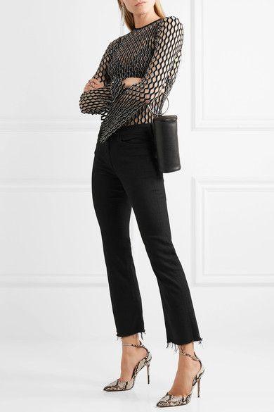 3x1 - W25 Crop Distressed Mid-rise Flared Jeans - Black - 24
