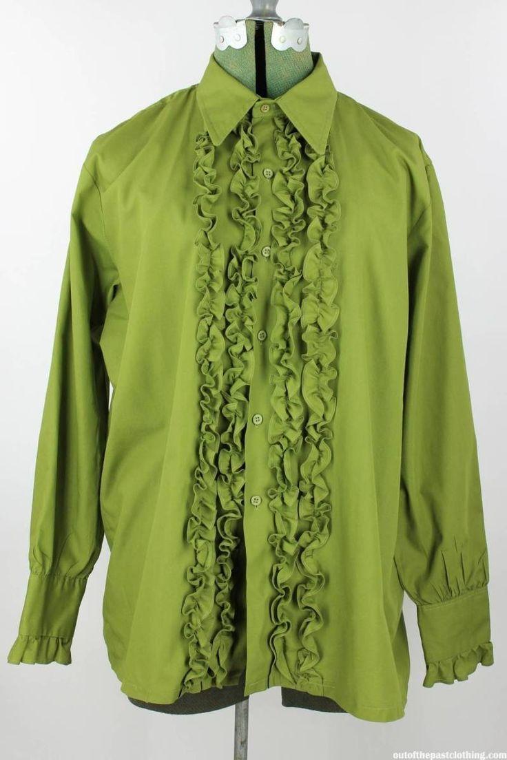 Vintage 1970s Avocado Ruffled Tuxedo Shirt