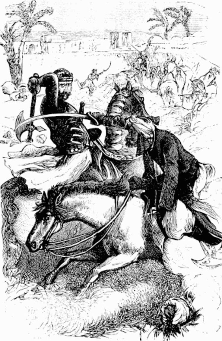 Western knight fighting against an Arabian horseman. (Illustration from the 19th century)