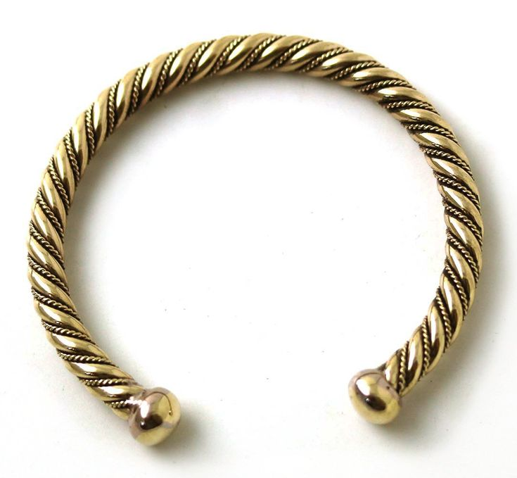 Bronze Norse Viking Spiral Twisted Cable Bangle Cuff Bracelet Arm Ring Jewelry (6 Inches)