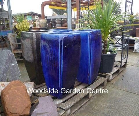 Tall Milan Blue Glazed P*T Planters Woodside Garden 400 x 300