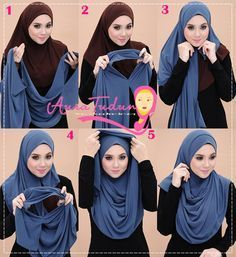 Easy hijab tutorial covering chest                              …