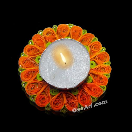 oyeart#Illuminate your #space with this #beautiful handmade #candle holder #decorated with paper #quilled #flowers. Perfect choice for decorating on special #occasions like #Diwali, #Anniversary, Candle light #dinners etc. Buy here http://bit.ly/1L9JXYO