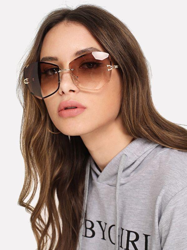 e8abef79288 Rimless Ombre Sunglasses -SheIn(Sheinside)