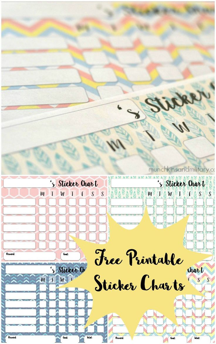 Free printable sticker charts, to help track behavior - 4 different color options