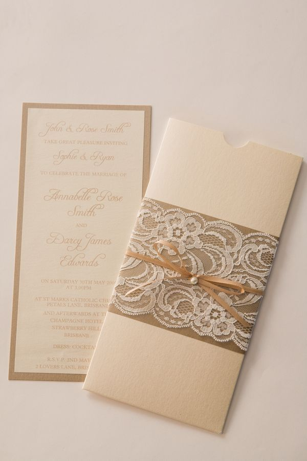 Vintage Lace Wedding Invitation. I like the way it slides in the envelope.