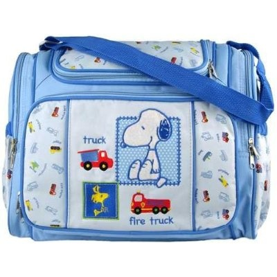Blue Snoopy Large Baby Diaper Bag with Changing Pad Plastic Wipes Case