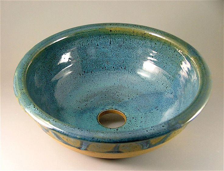 Pottery Bathroom Sink   Glossy BlueGreen With Green Leaves / Handmade  Ceramic Sink