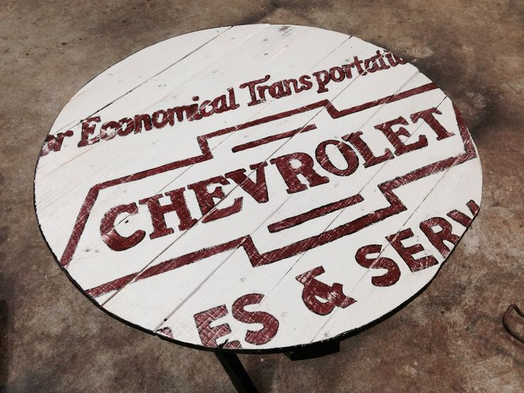Hand Painted Distressed Vintage Chevy Logo Pallet Wood Table #chevy
