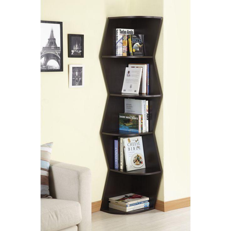 Elegant Furniture Of America Waverly Modern Walnut 6 Tier Corner Bookcase/ Display  Cabinet | Overstock