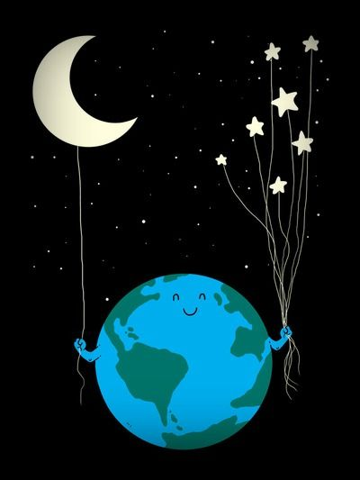 The Earth and stars and moon. So cute.