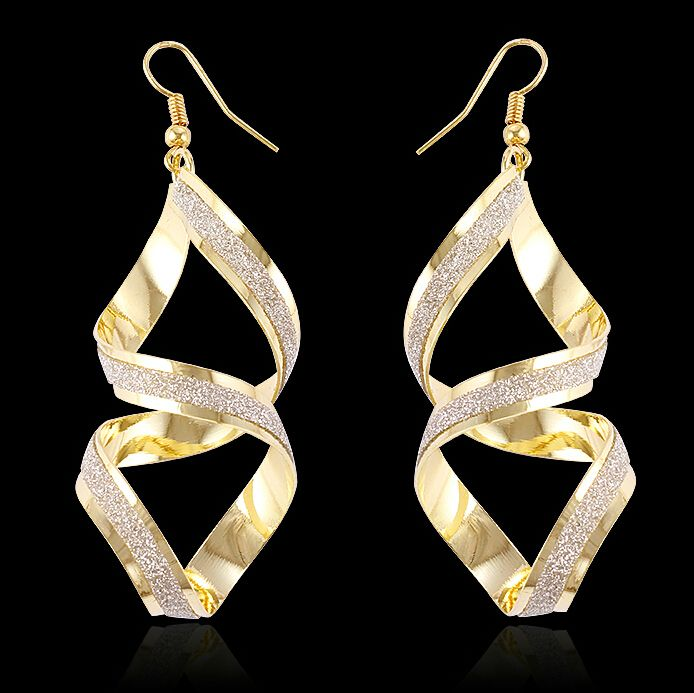 2017 Pictures Of Hanging Spiral Gold Earrings Designs For
