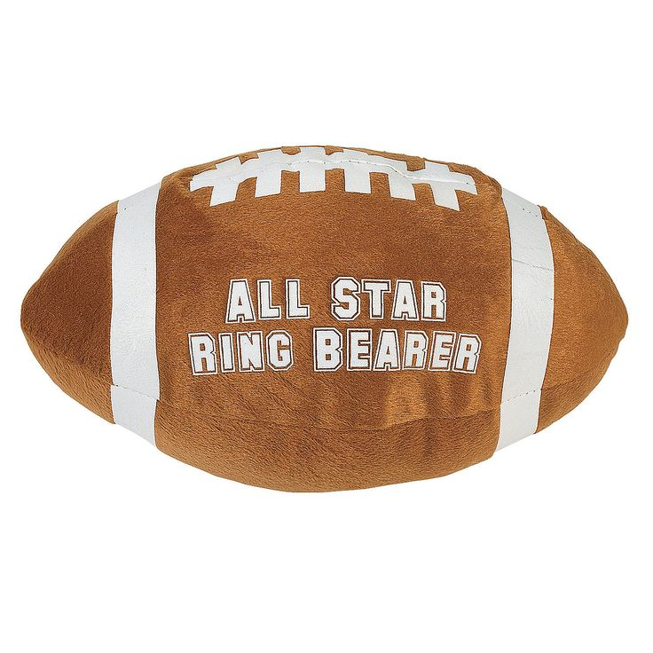 """Plush """"All Star Ring Bearer"""" Football. Catch this fun gift for your young attendant! Don't leave your ring bearer out of receiving wedding party gifts. The Plush """"All Star Ring Bearer"""" Football is a wonderful memento of your wedding day.  It's super soft, so no worries about little ones getting any bumps or bruises. 11"""" © OTC"""