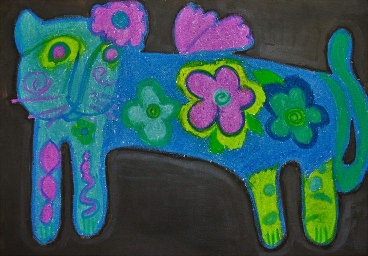 Piya 6 yrs, Cat in Oil pastel based on Laurel Burch