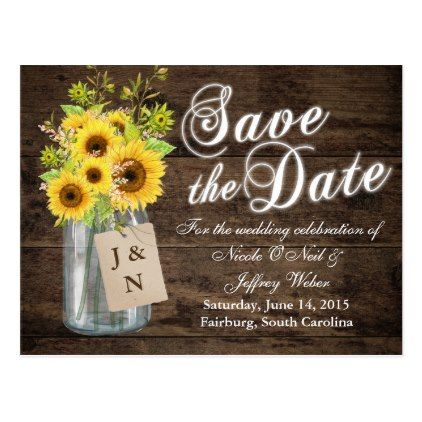 #savethedate #postcards - #Country Rustic Save the Date Mason Jar Wedding Postcard