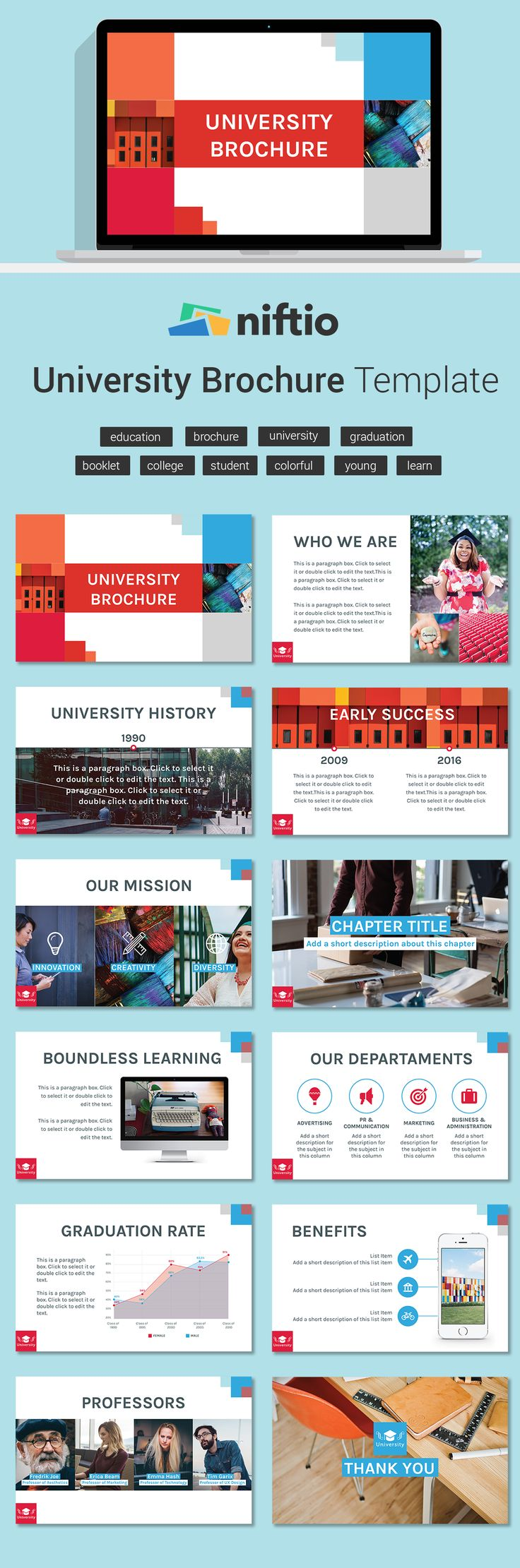 Create a brochure for your university using this new presentation template made for Edu.