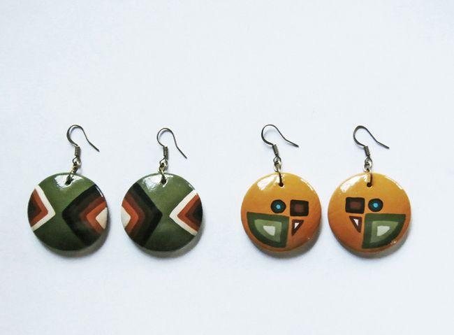 painted wooden earrings