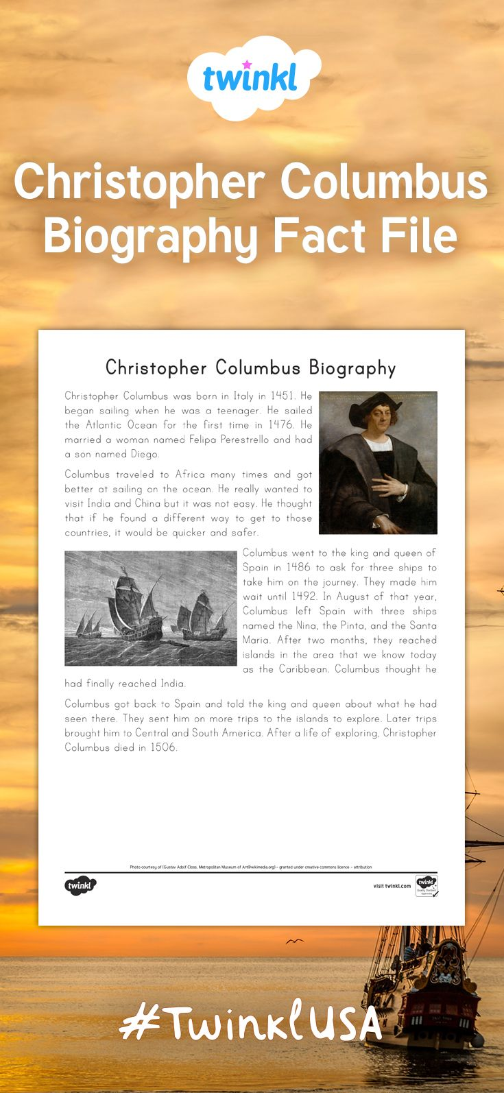 Perfect for Columbus Day as a shared or independent reading activity! This fact file describes the life and accomplishments of Christopher Columbus.