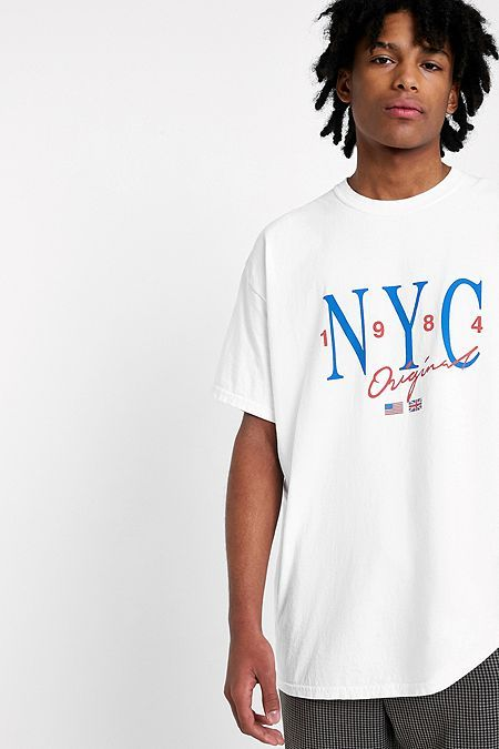 UO NYC Washed White T-Shirt  d4db955f310