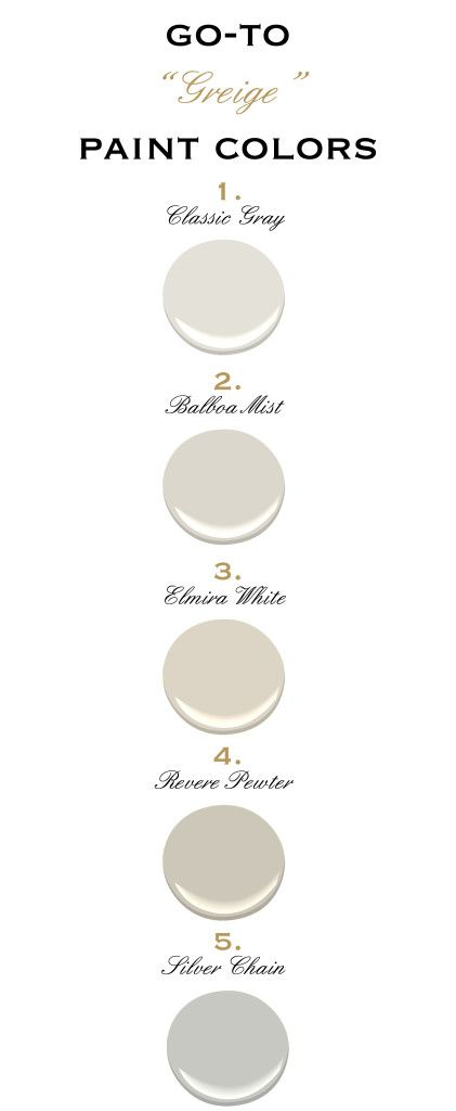 Greige Paint Colors, Benjamin Moore. For @Vonda Ruppert-Snow Benson