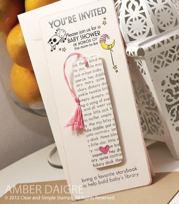 Stunning baby shower invite. Love the bookmark