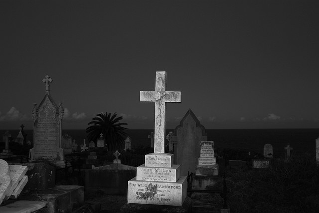 wavery cemetry at night.
