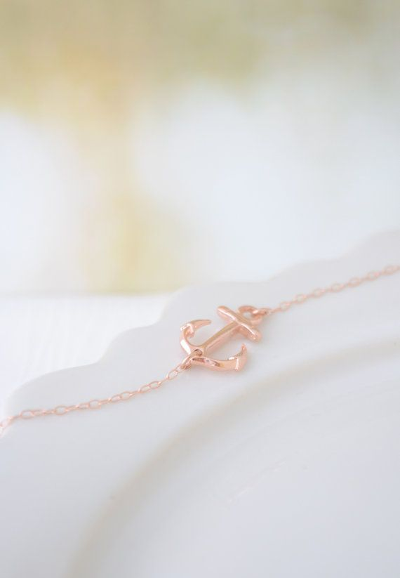 Rose Gold Side Anchor Necklace by Olive Yew. This rose gold side anchor necklace is a beautiful addition to any outfit. Very simple, petite and chic.