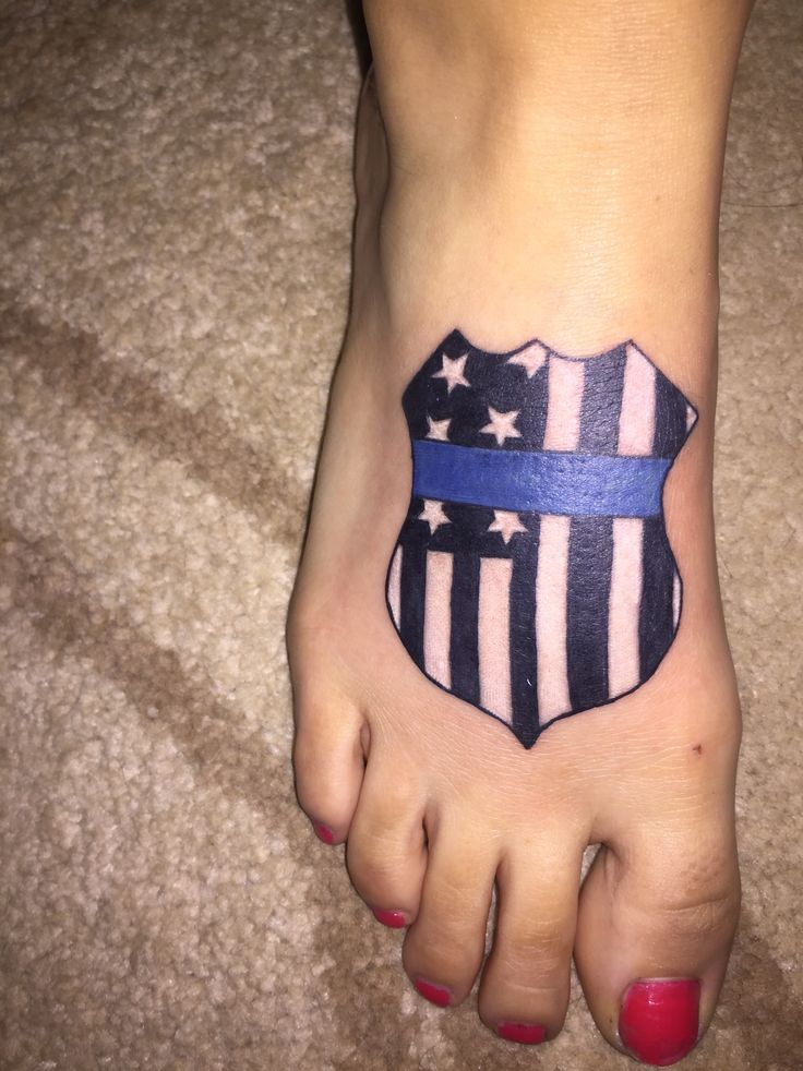 Police wife tattoo  thin blue line