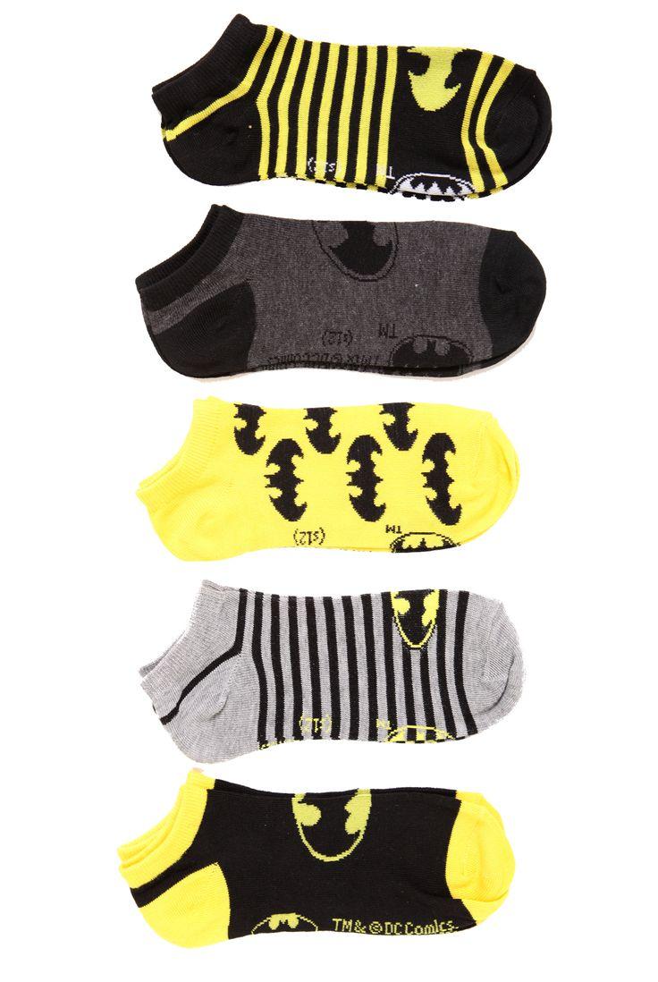 DC Comics Batman No-Show Socks 5 Pack   Hot Topic