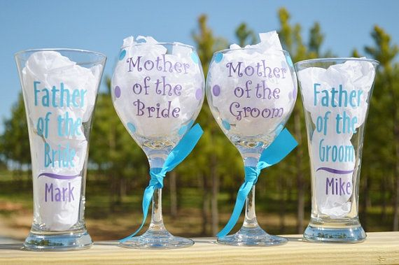 Set of 4 Personalized Mother and Father of the Bride or Groom Wedding Wine and Beer Glass Gift on Etsy, $40.00