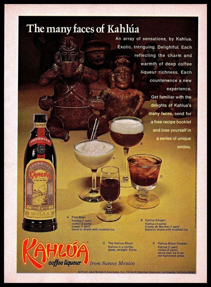 Details about Kahlua Vintage Photo PRINT AD 1970 Coffee
