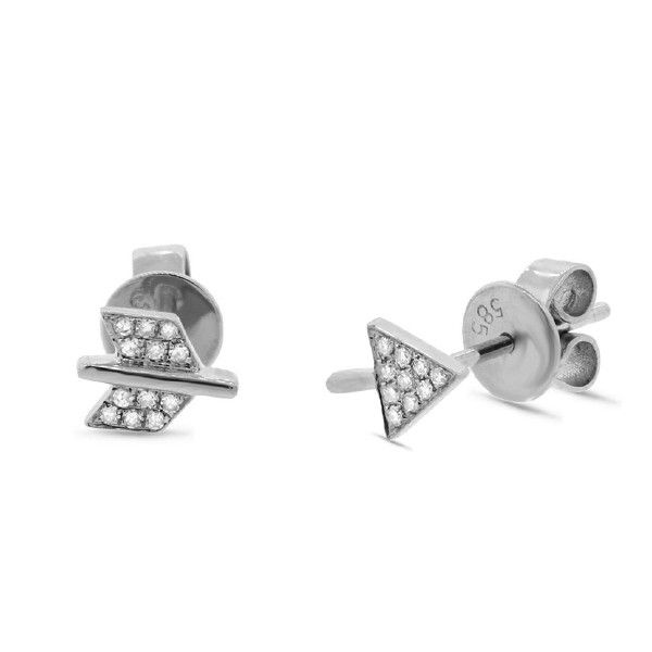 0.05ct 14k White Gold Diamond Arrow Earrings