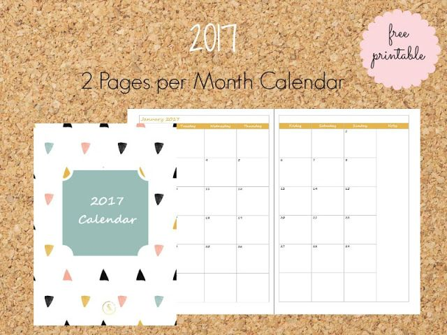 2017 Free Printable 2 Pages per Month Calendar - Ioanna's Notebook
