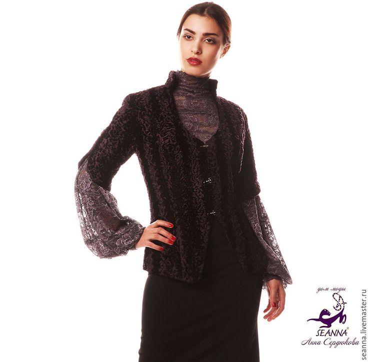 """Купить Курточка меховая с укороченным рукавом """"Каракуль"""" фиолет, черный - темно-фиолетовый, куртка, курточка"""