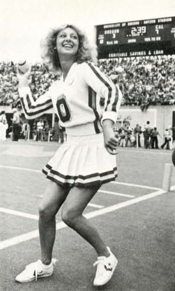 Oregon cheerleader at football game at Autzen Stadium 1979. Oregon cross country 1979. From the 1980 Oregana (University of Oregon yearbook). www.CampusAttic.com
