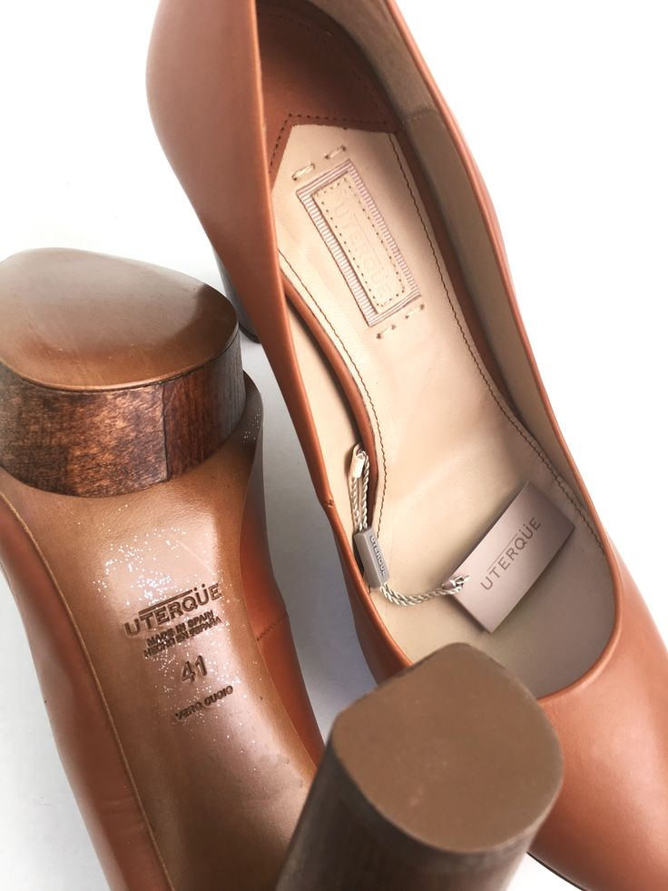UTERQUE (ZARA GROUP) LEATHER HEELS SIZE 10&6 USA 8&3UK 41&36 EUR UTERQUE (ZARA GROUP) brown real leather shoes with wooden block high heels and platform.  THIS ITEM IS BRAND NEW WITH TAGS ATTACHED  100% GENUINE & AUTHENTIC UTERQUE ITEM