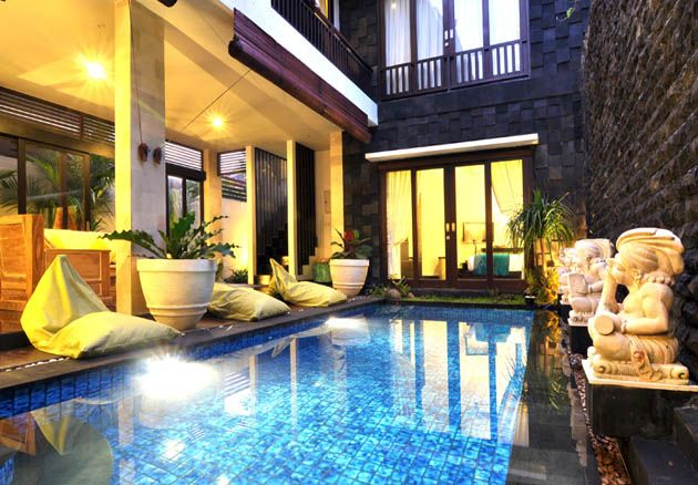 This brand-new 5-bedroom home provides boutique accommodation exclusively for gay men. The large 2-level house is open and airy in modern Balinese style, with a central pool. Each bedroom has air con, or open your doors wide to let the Bali breezes blow through from the pool or the garden.