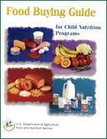 The Food Buying Guide for Child Nutrition Programs has all of the current information in one manual to help you and your purchasing agent 1) buy the right amount of food and the appropriate type of food for your program(s), and 2) determine the specific contribution each food makes toward the meal pattern requirements.The Food Buying Guide is being updated in phases to include resources for the new Nutrition Standards for School Meals.