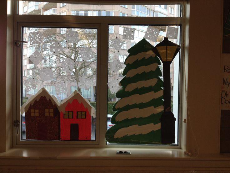 Classroom window winter decor