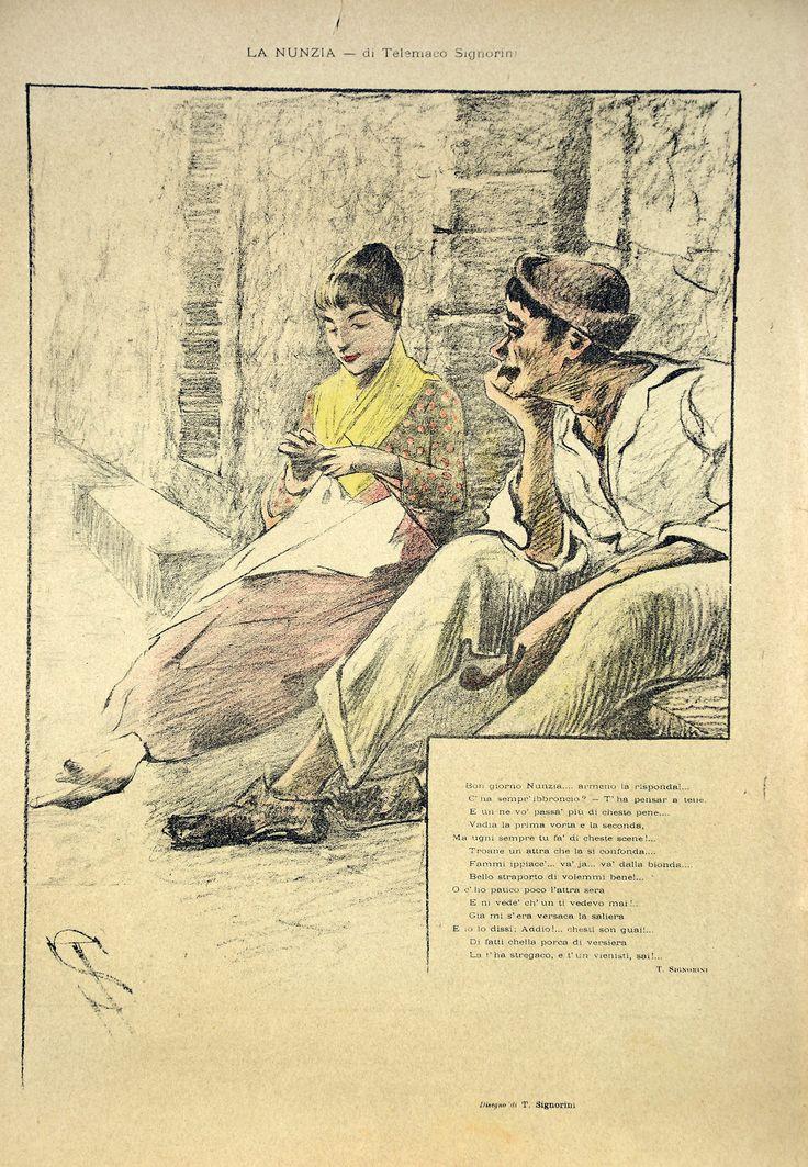 """La Nunzia"" 1896, Telemaco Signorini Illustration for the magazine ""Fiammetta"" Museu Nacional de Belas Artes, Río de Janeiro"