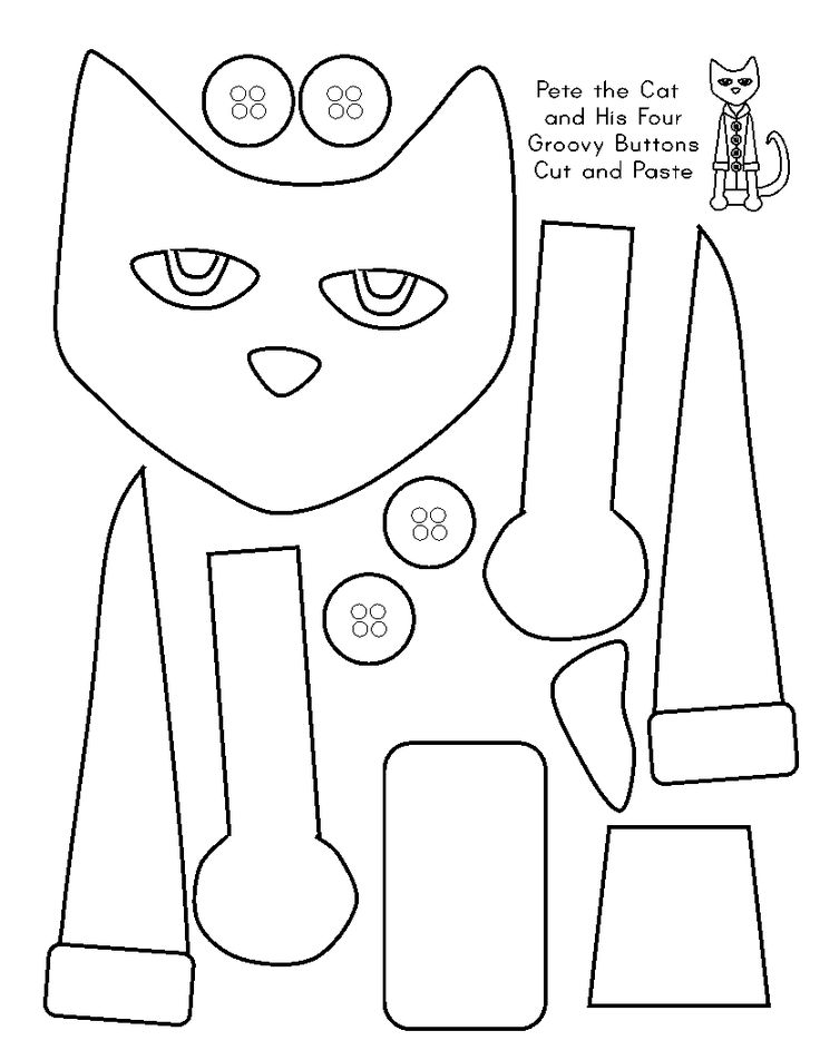 Free printable Pete the Cat and his four groovy buttons cut and paste