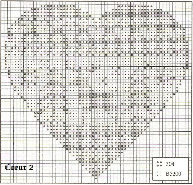 Points de croix *♥* coeur 2 monochrome