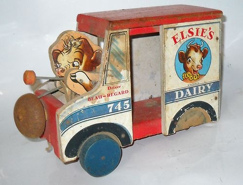 "We ""powered"" our toys - no batteries. Vintage Fisher Price #745 Elsie's Dairy Milk Truck Pull Toy 1949"