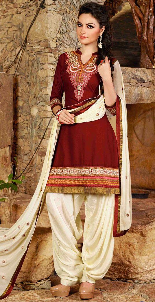 USD 31.68 Maroon Cotton Embroidery Punjabi Suit 44854